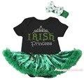 Ирландский принцесса черного боди-синяя святого патрика зеленый клевер шляпа девочка платье NB-18M