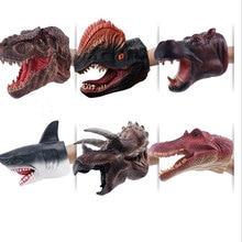 Realistic dinosaur figures hand puppet gloves Vinyl Soft rubber Animal shark cow action head finger dinosaur model Toys little shark finger puppet book