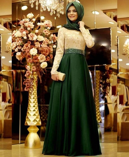 Vestidos De Gala Elegant Long Sleeve Muslim Evening Dresses Abaya In Dubai  Beaded Appliques Arabic Evening Gowns Dresses f6ca2c395a0d
