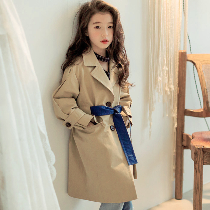 2018 New Autumn Fashion Toddler Girls Trench Coats Solid Khaki Pink Color Baby Girls Trench Coat For Girls Windbreaker Costume цены онлайн