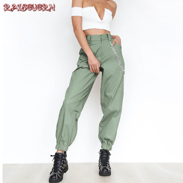 2c3c48309b23 RAISEVERN Cool Girls Side Chain Women Loose Wide Leg Harem Pants Women s  Winter Trousers Young Girl Chain Hip Hop Pants Sporting