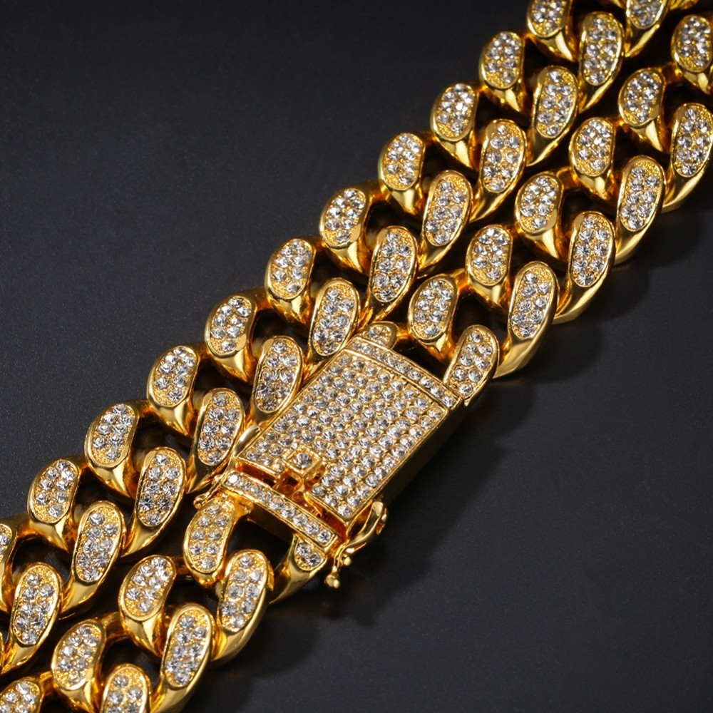 UWIN 2cm Miami Cuban Chain Necklace Bracelet Set Iced Out Crystal Rhinestone Gold Silver Hip Hop