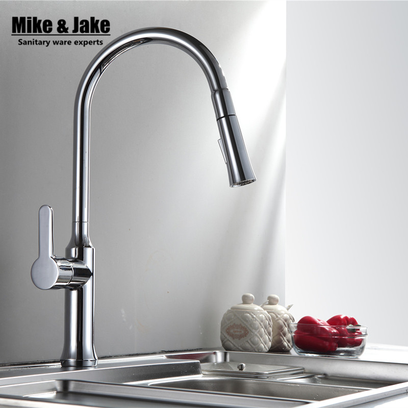 Chrome White pull out Kitchen faucet spray Sink Faucet Deck Mount Pull Out crane Sprayer Hot Cold kitchen Mixer Water Taps MJ917 цена и фото
