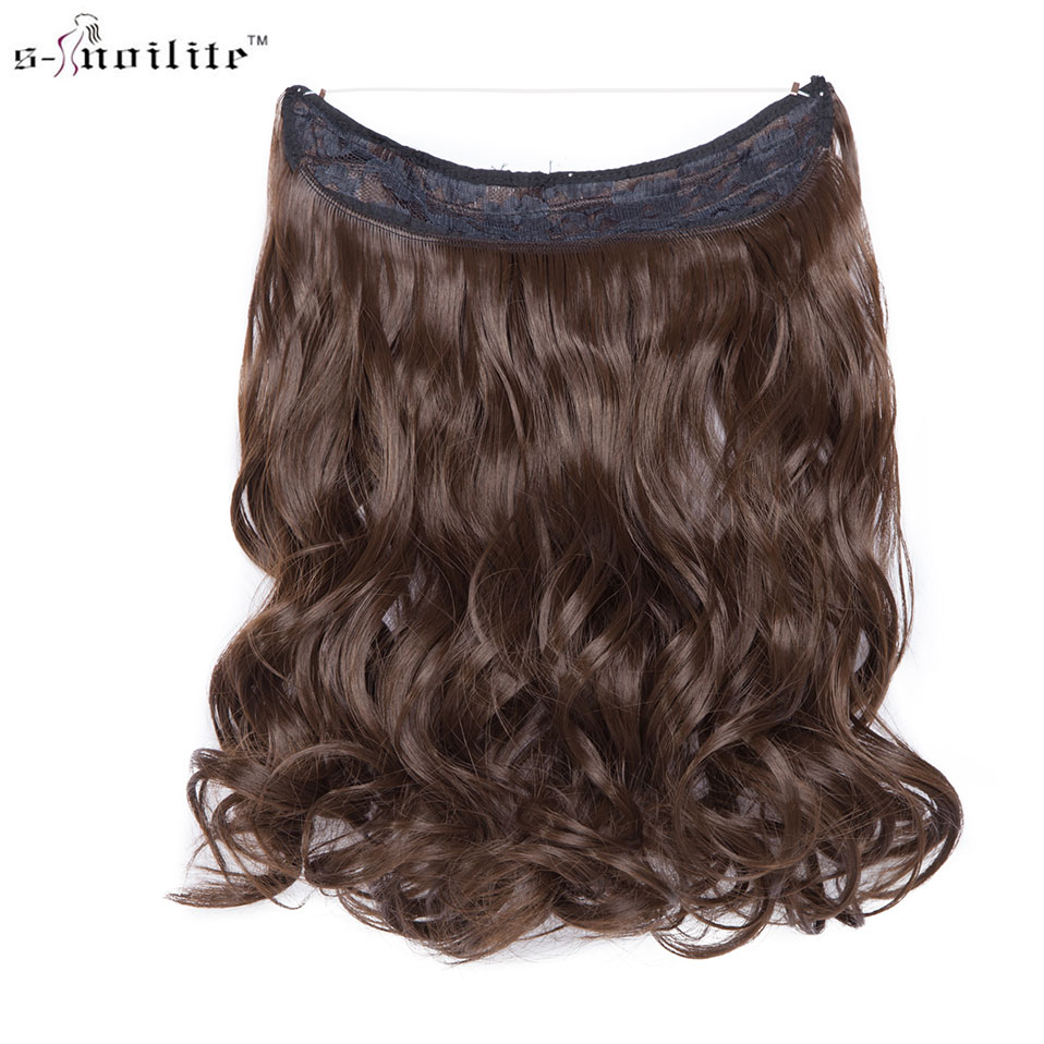 SNOILITE 16 Inches Short Wavy Invisible Wire No Clips In Hair Extensions Transparent Wire Hairpieces Natural Synthetic Hair 90g
