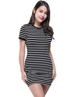 Enough-Stock-Summer-Round-Neck-Short-sleeved-Dress-Black-And-White-Striped-Dresses-Casual-Elegant-Sheath-Slim-Dress-Dropshipping-1