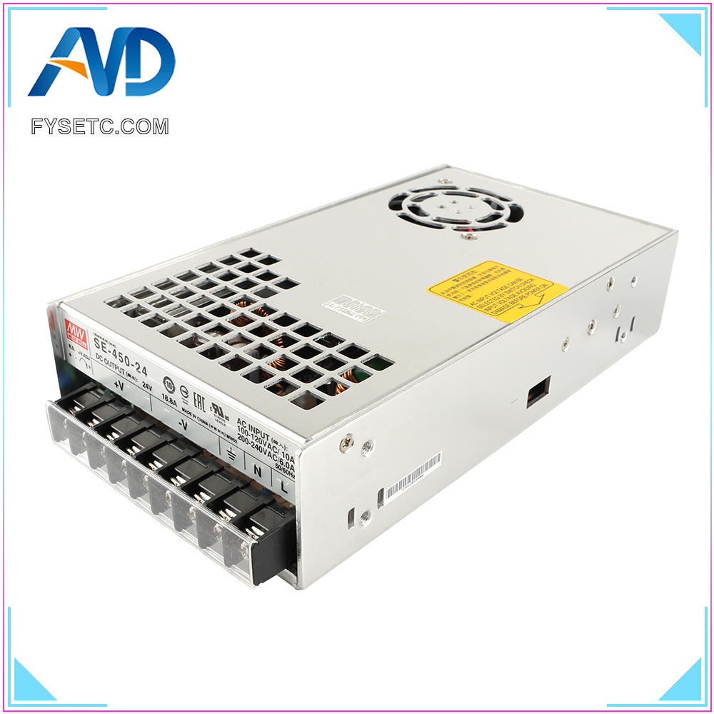 Top Quality BLV MGN Cube 3D Printer Power Supply Geniune Meanwell PSU SE-450-24 24V 18.8A 450W For BLV MGN Cube 3D Printer Part