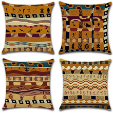 Africa Ethnic Style Cute Party  Animal Painting Cushion Throw Pillow Home Decorative Cotton Linen Printing Square Case