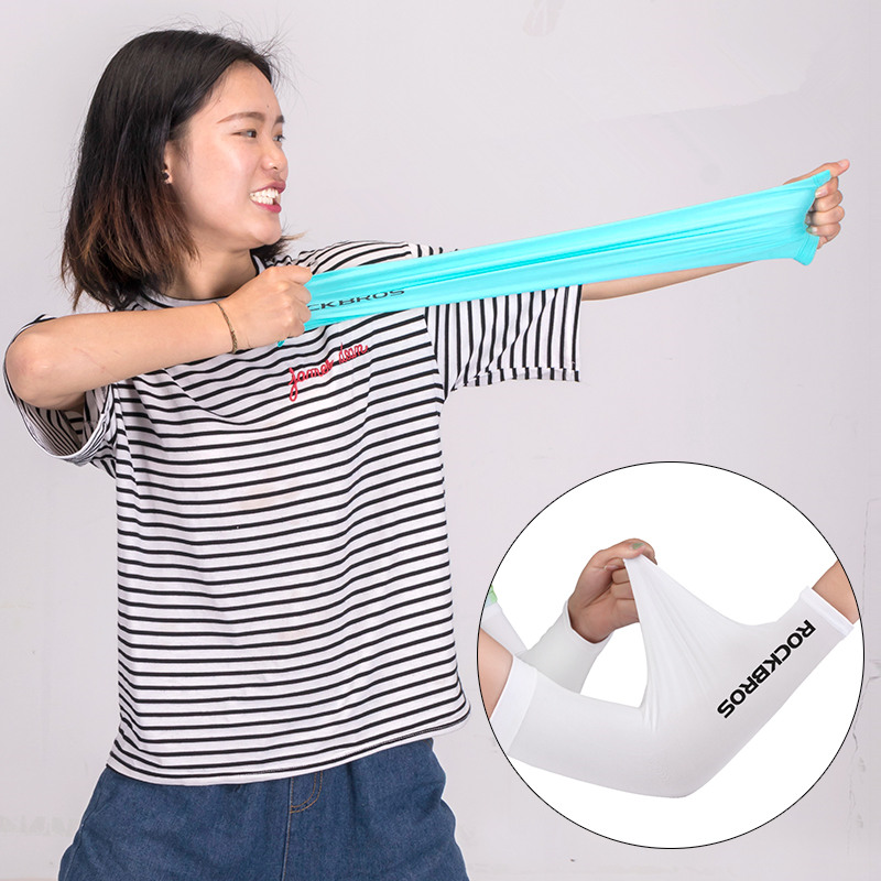 Photo of elasticity ROCKBROS ice fabric runnling sleeves for women. Outdoor bicycling arm warmers sleeves
