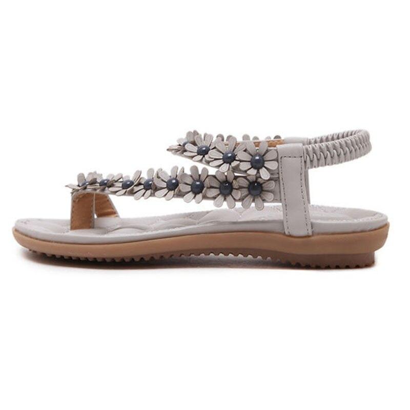 Women sandals Bohemian Ethnic Crystal Flat Sandals Roman Rhinestone Gladiator Flip Flops Flower Casual Shoes Girl Wedding