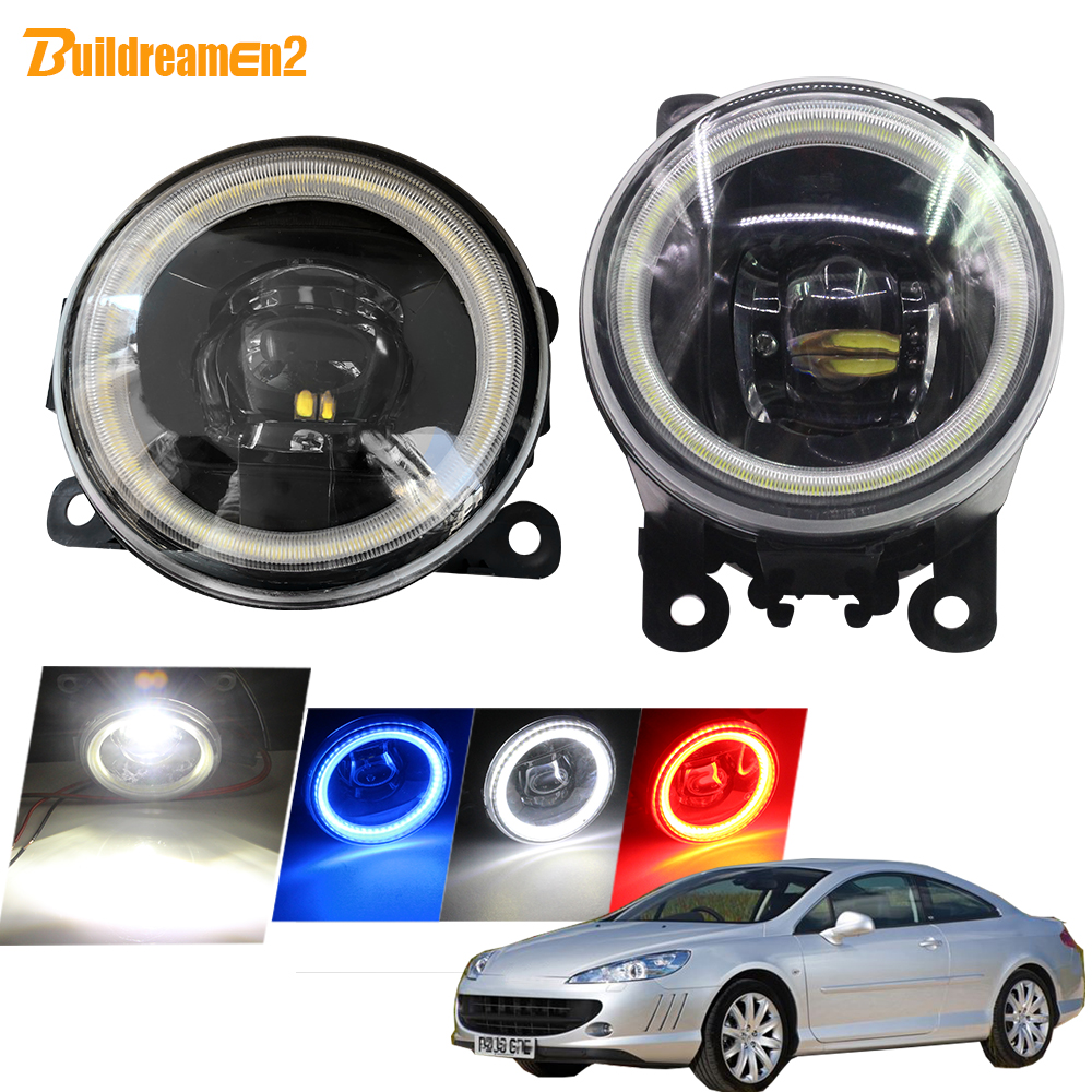 Buildreamen2 For <font><b>Peugeot</b></font> <font><b>407</b></font> <font><b>Coupe</b></font> 6C Car Styling 4000LM LED Fog Light Lens Angel Eye DRL 12V 2005 2006 2007 2008 2009 2010 2011 image