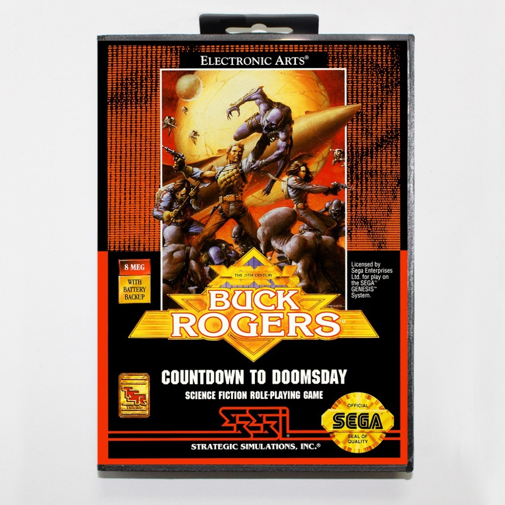 16 bit Sega MD game Cartridge with Retail box - Buck Rogers Countdown to Doomsday game card for Megadrive Genesis system