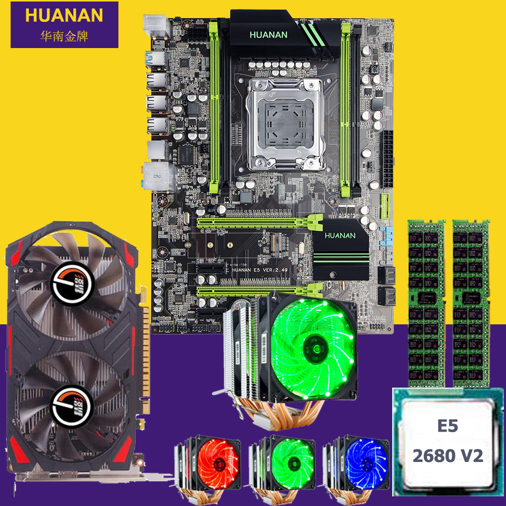 Official HUANAN X79 motherboard CPU Xeon E5 2680 V2 with cooler RAM 16G(2*8G) DDR3 RECC GTX750Ti 2G video card all good tested
