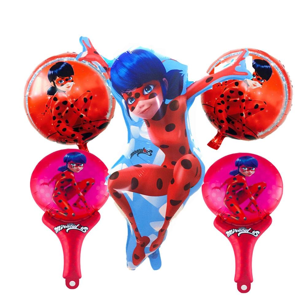 5pcs miraculous ladybug balloons birthday party for Balloon decoration equipment