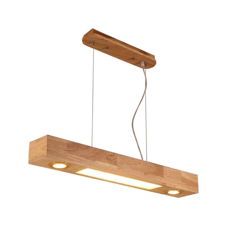 Long Pendant Lights: Nordic Wood Long LED Pendant Light Restaurant Creative Led