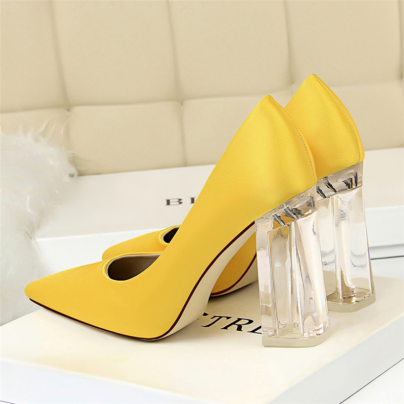 19 Plus Size 43 Women Block 10cm High Heels Lady Scarpins Green Satin Pumps Female Wedding Yellow Blue Silk Transparent Shoes 18