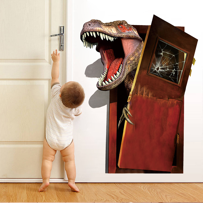 3D angry dinosaur wall stickers boys bedroon decor break door stickers cartoon self adhesive wall decals