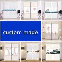 Custom glass film sliding door stickers wardrobe stickers sliding door wall renovation stickers 60x150cmx2pcs
