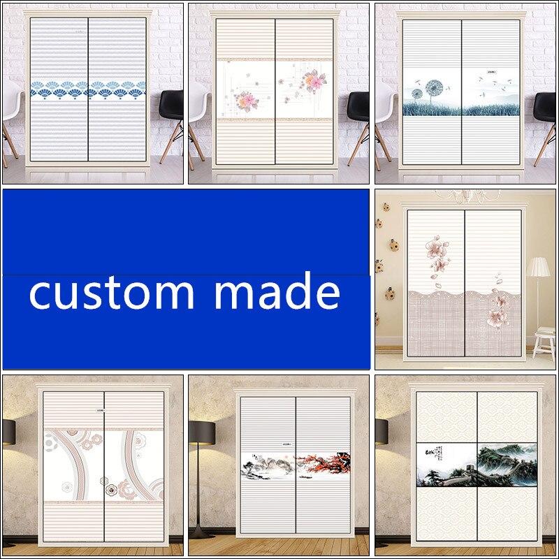 Personnalisé film de verre coulissantes porte autocollants autocollants pour mobilier porte coulissante mur rénovation autocollants 60x150cmx2pcs