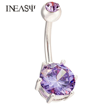 Summer Style Colorful Crystal Navel Ring Stainless Steel Belly Button Ring Body Piercing Silver Plated Jewelry For Women