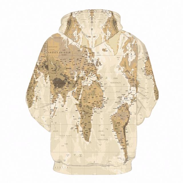 KYKU World Map Hoodie Men Print Sweatshirt Hooded 3d Anime Hoodies Vintage Pattern Hip Hop Mens Clothing Streetwear Autumn Style