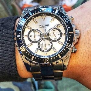 Image 2 - MEGIR Luxus Marke Business Quarz Männer Armbanduhr Voller Stahl Chronograph Wasserdicht Militär Uhr Männlich Relogio Masculino