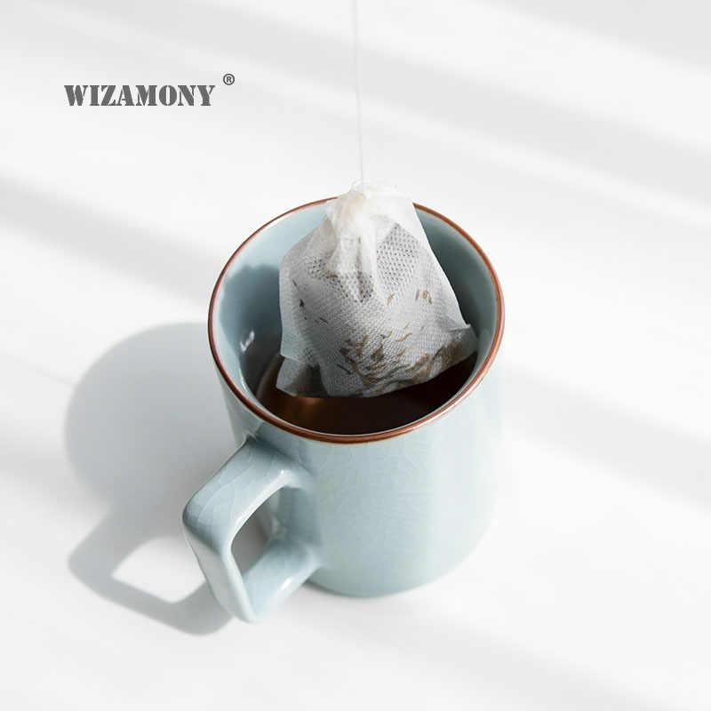 """100 יח'\חבילה 7*9 ס""""מ WIZAMONY ריק ריחני חד פעמי שקיות שרוך רופף תה פרח תה ירוק אולונג חותם מסנן"""