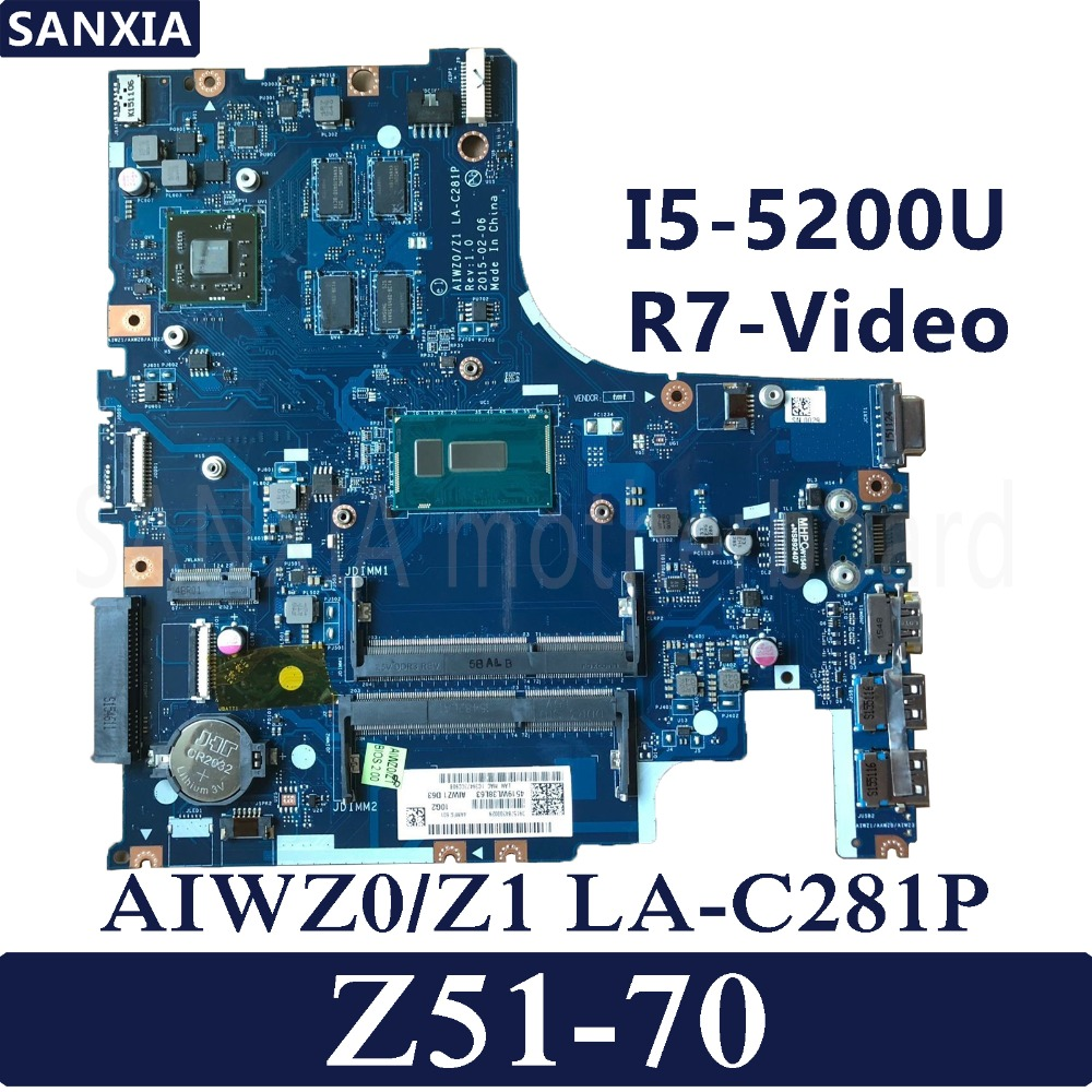 KEFU LA C281P Laptop motherboard for Lenovo Ideapad Z51 70 original mainboard I5 5200U R7 Video