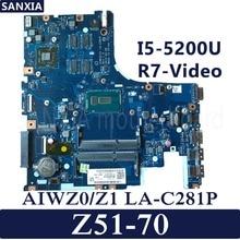 Kefu LA-C281P ноутбук материнская плата для Lenovo Ideapad Z51-70 оригинальная материнская плата I5-5200U R7-Video