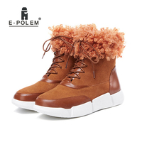 2018 New Winter Casual Snow Boots Trendy Women'S Leather Thick Sheep Curls Side Zipper Low Upper Round Toe Booties