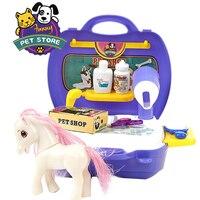 Детские Ролевые игры комплект ролевая игра дом сделать учебные Игрушечные лошадки собака лошадь Pet Shop Моделирование игры подарок для девоч...