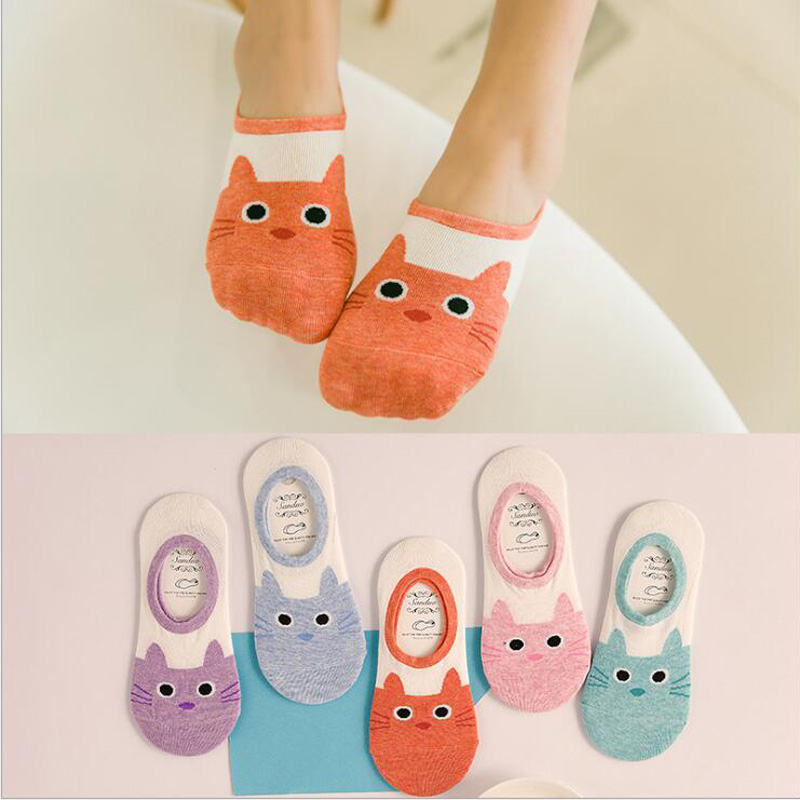 CAT Warm comfortable cotton bamboo fiber girl women's   socks   ankle low female invisible color girl boy hosier 1pair=2pcs WS95