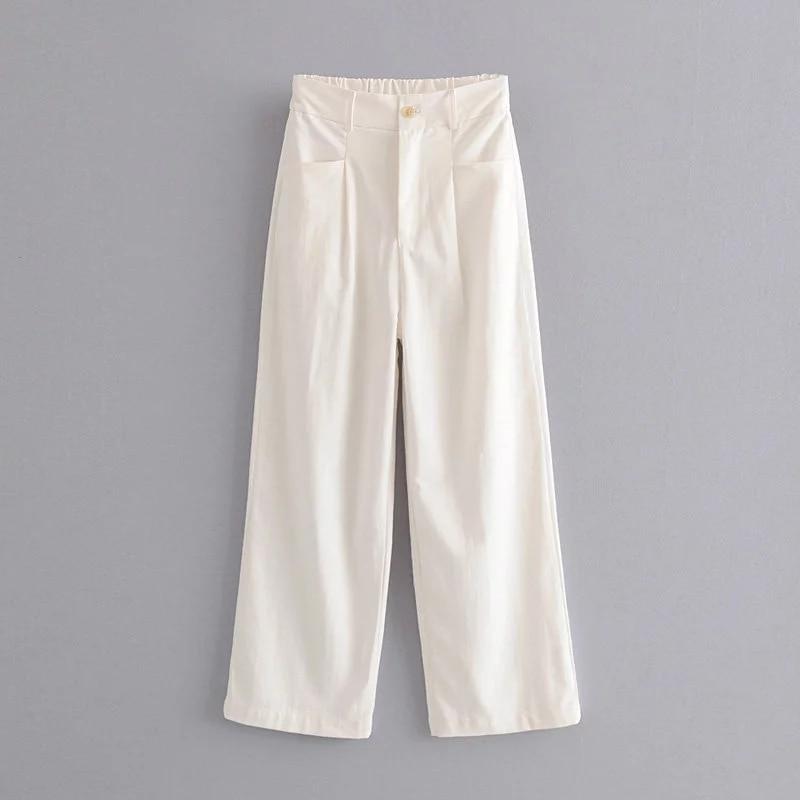 New solid color Women Wide Leg Pants 2019 Spring-Autumn Fashion Ladies Loose High Waist Lycra Trousers Chic Girls pantalon femme