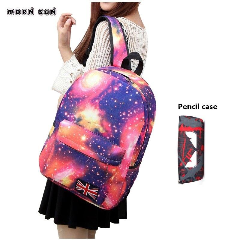 2pcs/set Women School Bag Print Backpack For Teenage Girl Boy Star School Bag Teenagers Girls Travel Bag Rucksacks Mochila