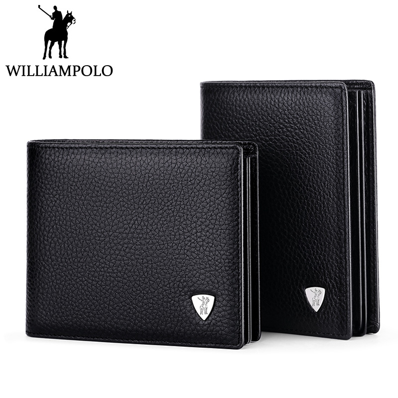 WILLIAMPOLO 2018 Business Men Wallet Leather Short Male Purse Genuine Leather Bifold Wallet With Removable Card Holder Gift case williampolo metal mini wallet men leather slim bifold purse pouch front pocket real leather purse short small wallet male pl189