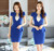 Novidade Azul Verão 2016 As Mulheres Saia Ternos de Negócios Formais Blazers Jaqueta E Saia Conjuntos de Roupas Das Senhoras Desgaste do Trabalho Salão de Beleza