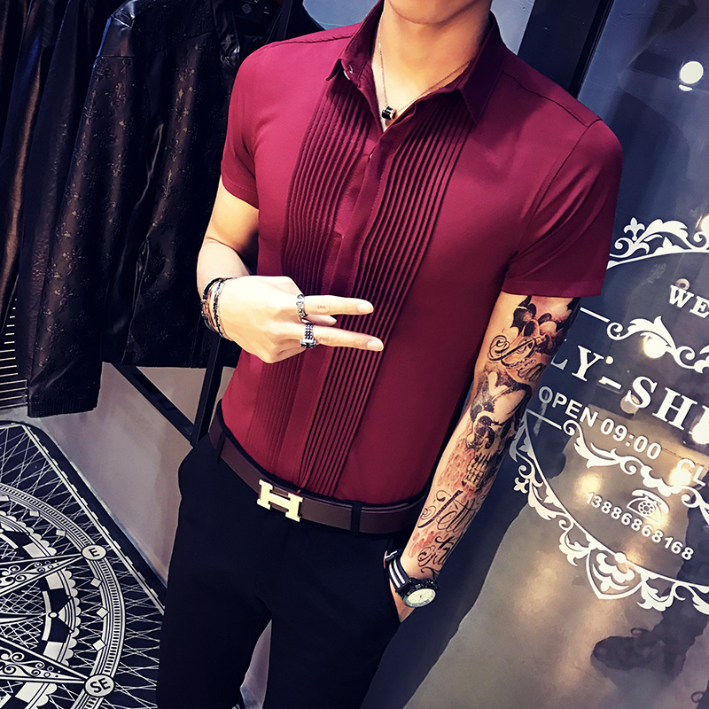 Summer Short Sleeve Shirt Men Fashion Slim Fit Casual Solid Mens Shirts Personality Front Fold Design Party Dress Shirts Male