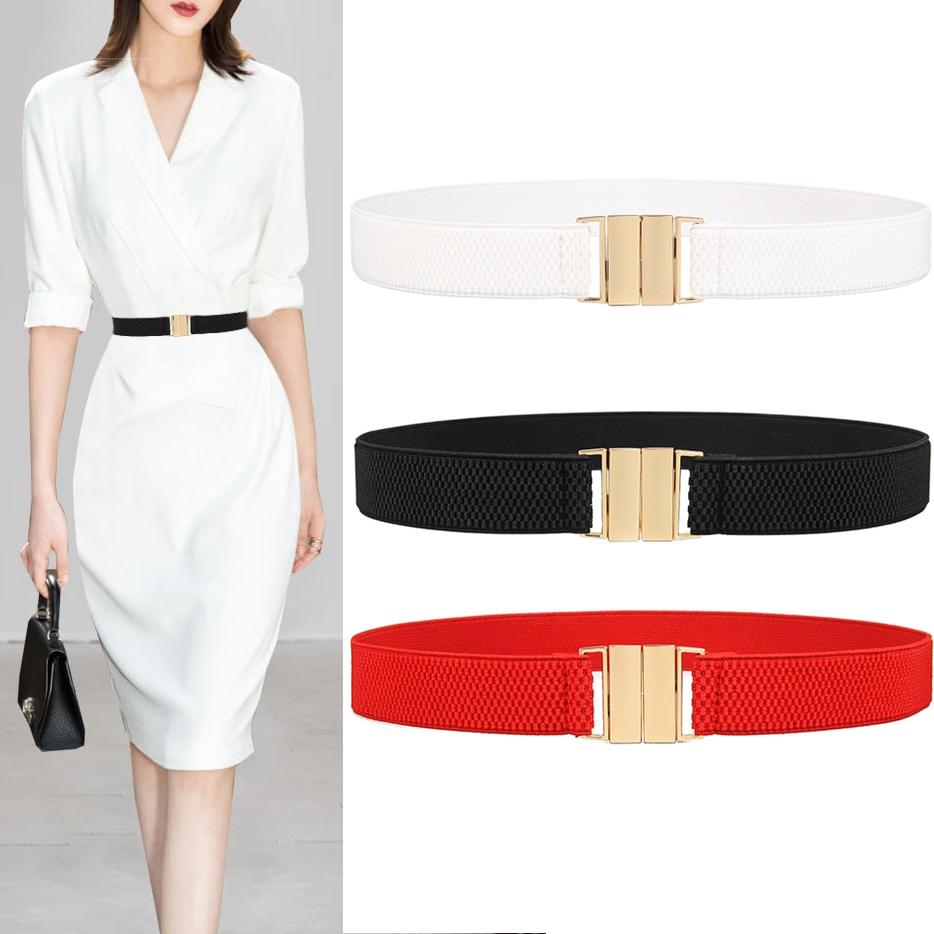 Women/'s Party Waistband For Dress Ring Buckle Cummerbund Thin Elastic Belt LIN