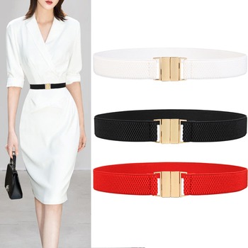 Fashion Women's Cummerbunds Wide Belt Red Elastic Solid Casual Wedding Waist Gold Buckle Belts Stretchy Waistband For Lady Dress