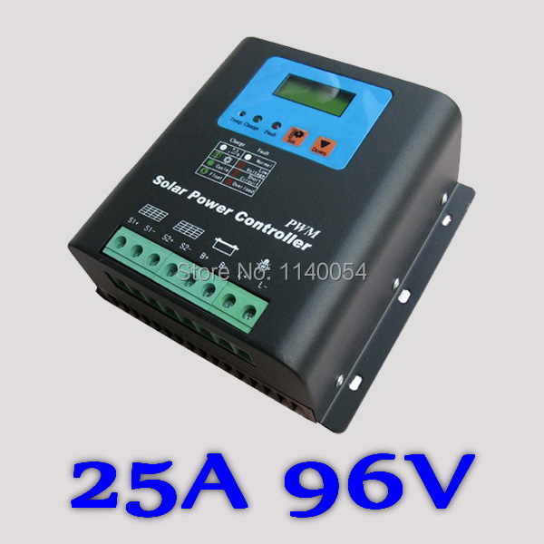 25A 96V Solar Charge Controller, Home Use 96V Battery Regulator 25A for 2400W PV Solar Panels Modules, LED&LCD Display 50w 12v epoxy solar panels solar cells battery flexible polycrystalline silicon diy solar modules pro for boat rv car 540x550mm