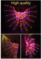 FREE shipping LED Belly Dance Isis Wings Belly Dancing Accessory Stage Performance Props Wings With Sticks Glow Party Supplies