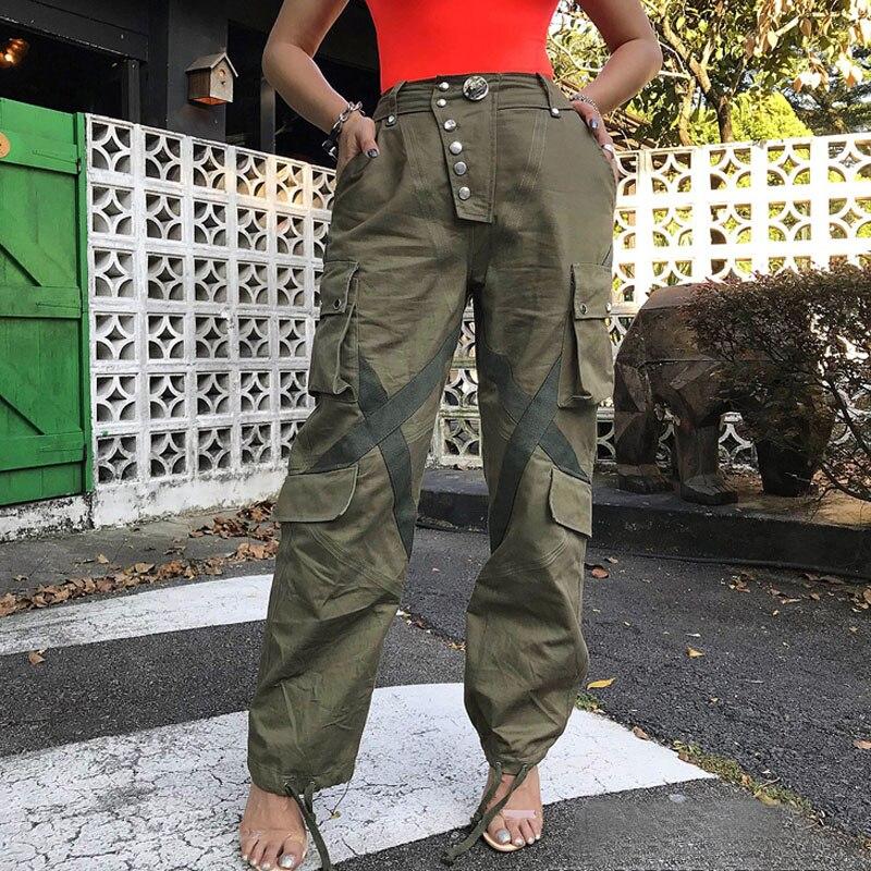 Washed Ribbon Splicing Pocket Military Pants Drawstring Waist Casual Pants-in Pants & Capris from Women's Clothing    1