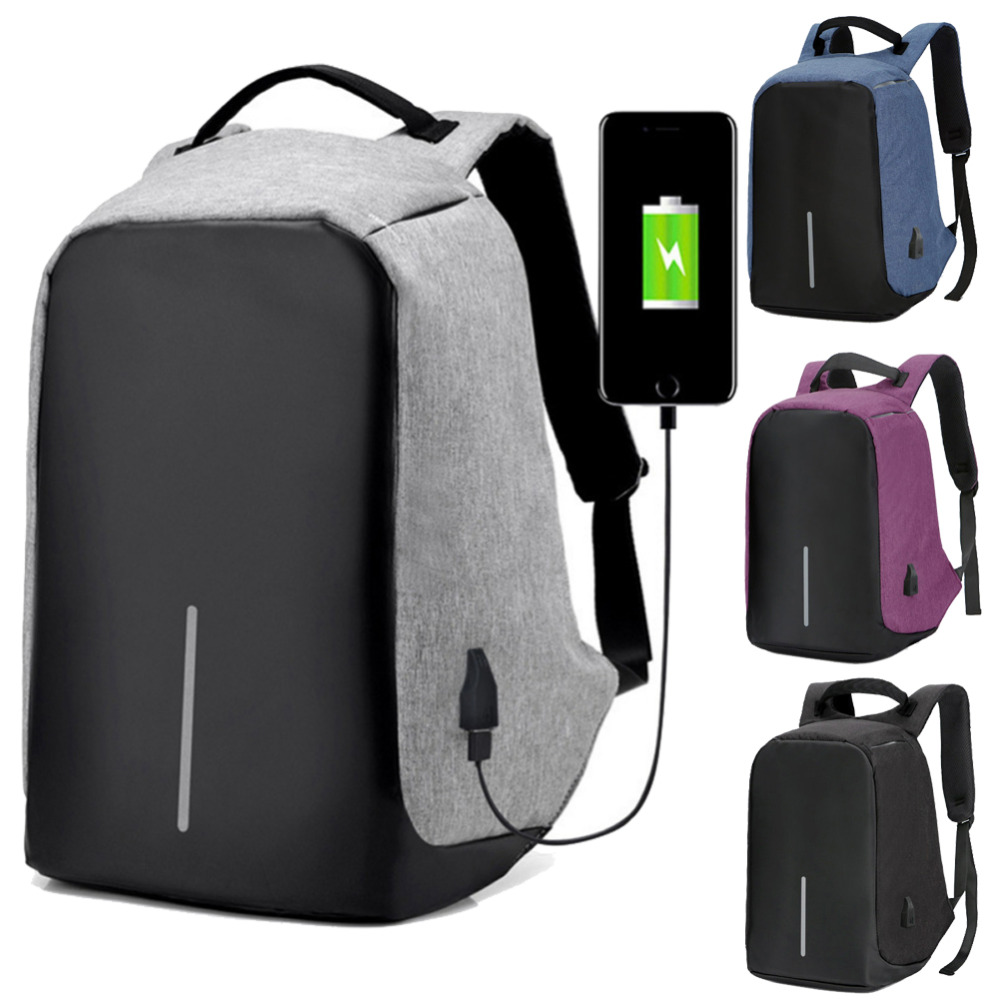 Xiao Jian Travel Leisure Small Backpack Smart with USB Charging Single Piece Men and Women Black Gray Purple Backpack Color : Purple