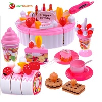Free Ship 73pcs Set Pretend Play Kitchen Accessories Birthday Cake Kitchen Toys Brinquedo Learning Education Toys