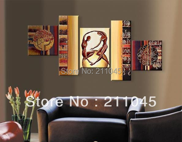 Modern Living Room Wall Decor Set : Hand painted abstract panel canvas art living room