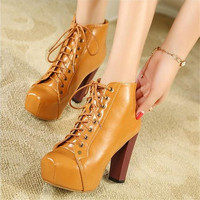 Women Spring Autumn Motorcycle Square Toe Lace Up Ankle Short Platform 4 92 Inches High Heels