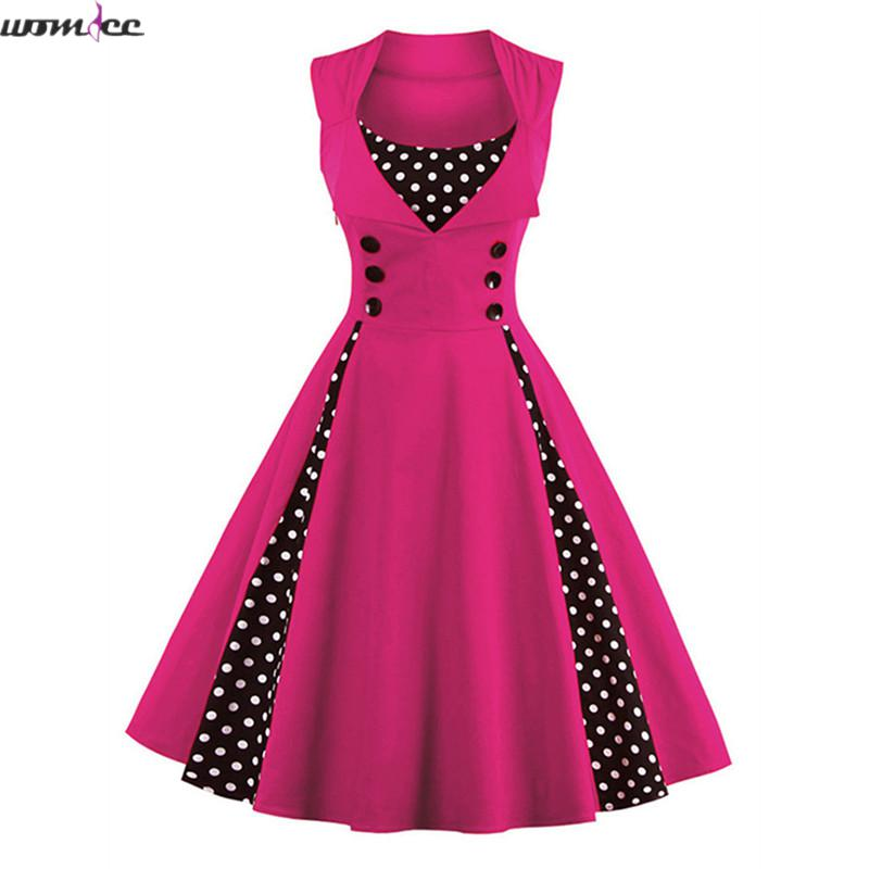 Vintage dress 2017 summer women red polka dots patchwork sleeveless botton 1950s female elegant vintage dress