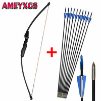 1Pc 40lbs Adult Archery Straight Takedown Recurve Bow Right Hand with 6pcs Fiberglass Arrows For Shooting Practice Accessories