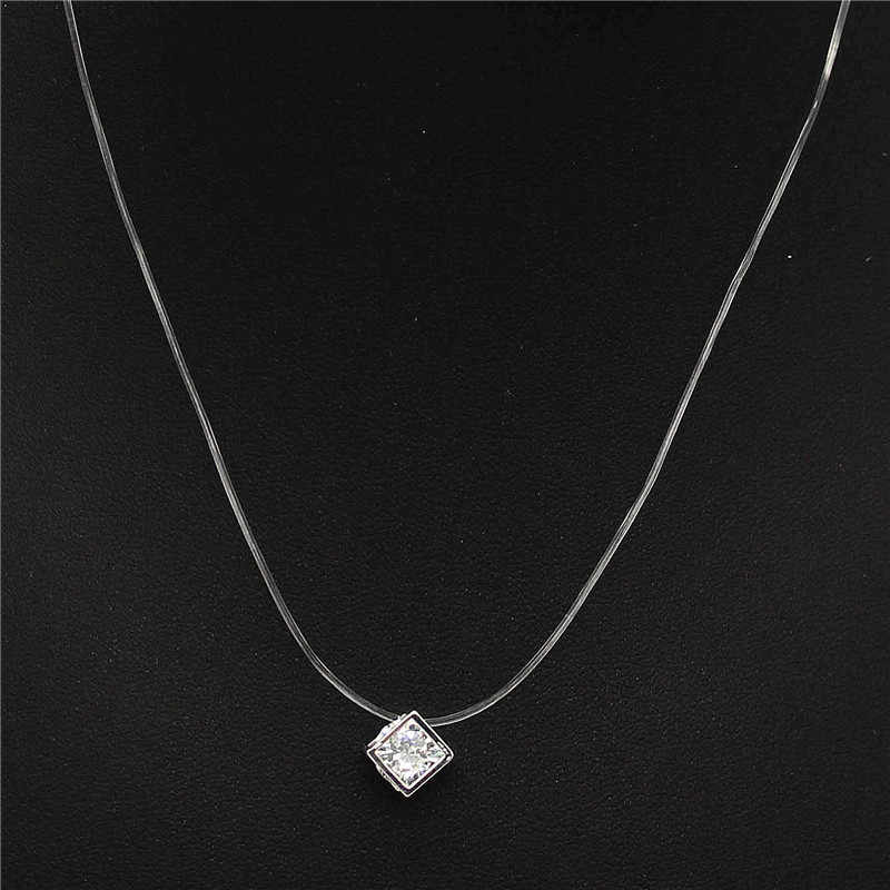 ADOLPH Transparent Fishing Line Zircon Choker Necklace Silver Invisible Chain Necklace Women Rhinestone Collier Jewelry Femme