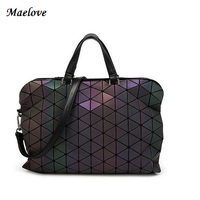 2017 New Japan Brand Style Women Bag Geometry Casual Totes Shoulder Bag Luminous Briefcase Baobao Bag