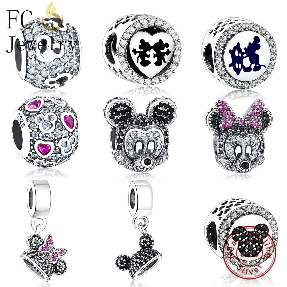 bb6d4b398 FC Jewelry Fit Original Pandora Charms Bracelet 925 Silver Cartoon Mickey  Kiss Minnie Pendant Bead for Making DIY Gift Berloque